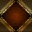 Vector illustration of gold lace on wooden background