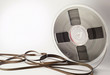 Vintage magnetic audio reel and tangled tape with space for text