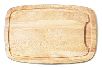 New cutting board used for cooking. Wood texture.