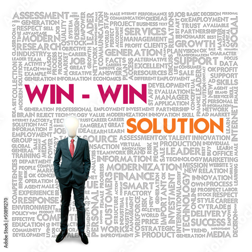 Business word cloud for business and finance concept, Win win so