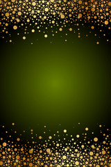 Vector green frame with gold confetti