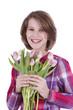 Glückliches Mädchen mit rosa Blumen - girl with flowers