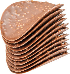Rice Expanded Chocolate Biscuits Isolated