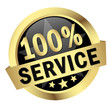 "Button mit Banner "" 100% SERVICE """
