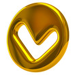 Golden tick sign icon