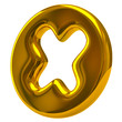Golden cross mark icon on white background