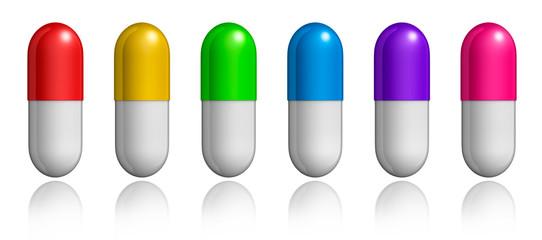 Bunte Tabletten-Reihe