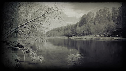 Calm river image. Vintage styled clip.   1080p.