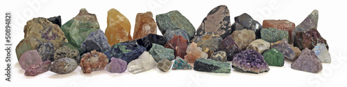 Banner of Rough  Minerals, white background