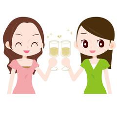 女子会 シャンパンで乾杯