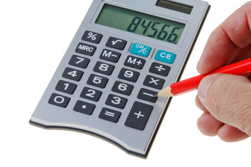 Taschenrechner mit rotem Stift