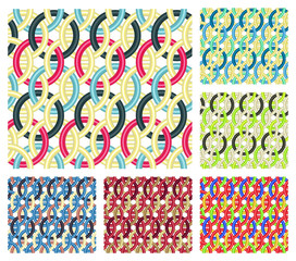 Entwined rings. Seamless patterns.