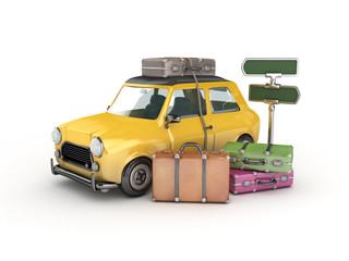 yellow car with suitcase