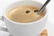 close up of espresso cup with crema