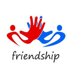 Logo solidarity, hands touching # Vector