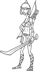Knight woman cartoon illustration