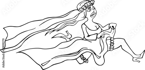 running bride cartoon illustration