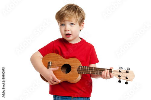 Cute Boy Playing Ukulele Guitar