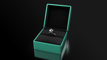 Diamond Ring with Green Box