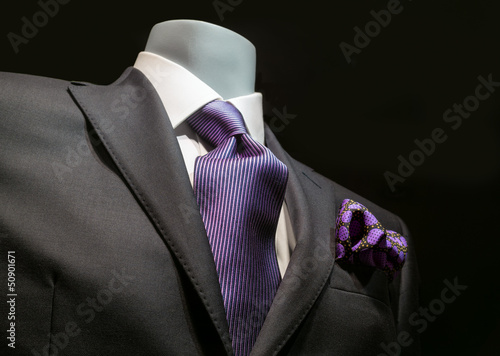 Dark Gray Jacket with Purple Tie