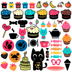 Sweet cakes and food elements set