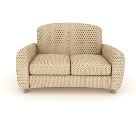 Modern beige leather sofa in a flecked