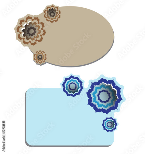 Vector stickers with floral ornaments