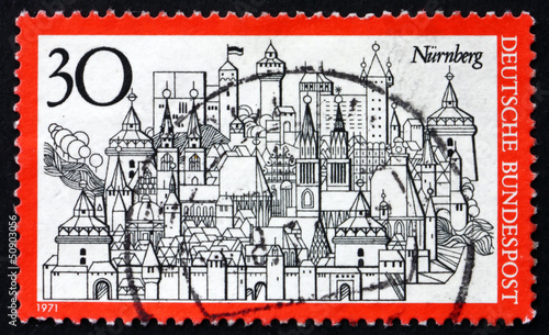 Postage stamp Germany 1971 Nuremberg, Town in Bavaria