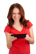 Young woman playing games on tablet