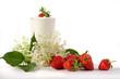 Joghurt mit Erdbeeren und Hollunder