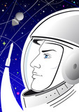Vector astronaut on the starry sky and the spacecraft