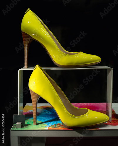 Yellow Women's Shoes on a Display