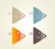 Four colored paper triangles with place for your own text.