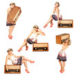 Pin-up Girl mit altem Radio Collage