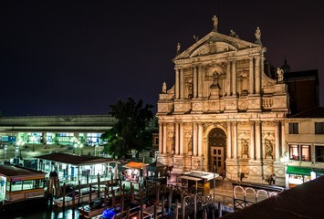 Santa Maria di Nazareth church in Venice at nigh