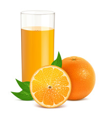 Fresh orange with leaves and glass with juice