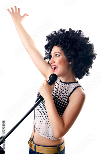 Woman with afro haircut on white
