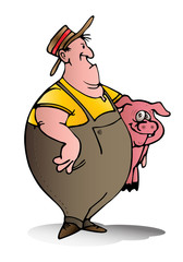 swine breeder carry pink pig