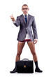 Nude businessman with briefcase on white