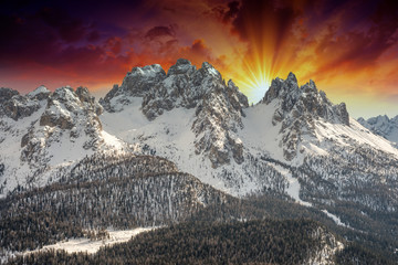 Wonderful Italian Alps Landscape at sunset in Winter Season