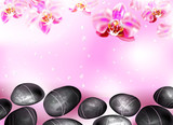 spa background with stones and orchids