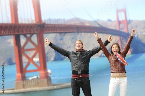 San Francisco happy people at Golden Gate Bridge