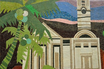 Mosaic of church with palm tree