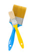 yellow and blue paintbrushes isolated
