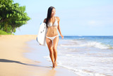 Fototapety Beach woman fun with body surfboard