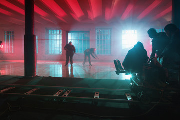 motion blur staff on the film set in studio