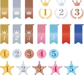 リボンやメダルのランキングアイコン