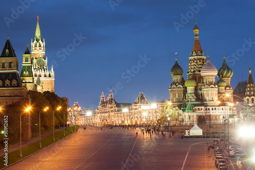Moscow, Red Square, Saint Basil Church and Spasskaya Tower