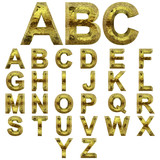 Conceptual 3D yellow shiny gold golden metal font set