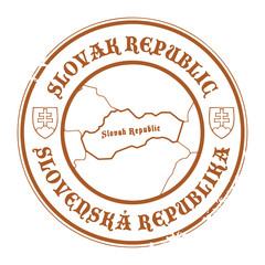Stamp with the name and map of Slovak Republic, vector